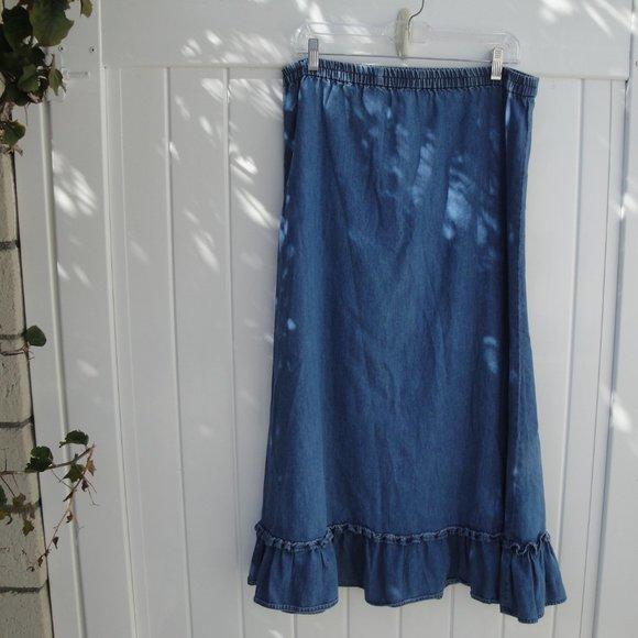 AVON Dresses & Skirts - VINTAGE DENIM MAXI ruffle Skirt S Chambray